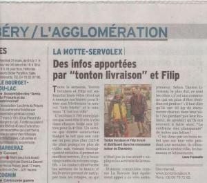 Tonton Livraison - Filip' - Dauphiné Libéré distribution journaux La Motte Servolex 16 mars 2016